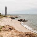 The western beach.- Lighthouse Point Park