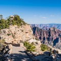 Full views of the canyon abound throughout the whole trail.- Bright Angel Point