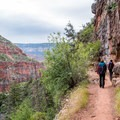 Hiking along the rim along North Kaibab Trail.- North Kaibab Trail to Roaring Springs
