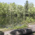 Sitting area and fishing pool.- Beaver Brook State Park