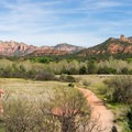 The Bunkhouse Trail from the visitor center roof.- Red Rock State Park