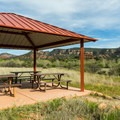 A picnic area shelter at Red Rock State Park.- Red Rock State Park