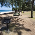 Picnic and grilling area at D.T. Fleming Beach Park.- D.T. Fleming Beach Park