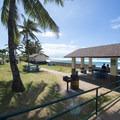Ho'okipa Beach Park picnic shelter and picnic area.- Ho'okipa (H-Poko) Beach Park + Overlook