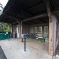 Picnic shelter at Hosmer Grove Campground.- Hosmer Grove Campground