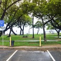 The parking lot can be busy on weekends.- Kalanianaole Beach Park
