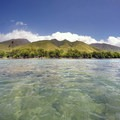 View back of the West Maui Mountains from the Olowalu Reef.- Olowalu Reef + Ka'ili'ili Beach