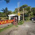 Trailhead for Twin Falls.- Twin Falls Hike + Wailele Farm