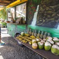 The Twin Falls Farm Stand serving fresh juices, coconuts, baked goods and various fruits.- Twin Falls Hike + Wailele Farm