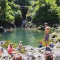 Ching's Pool along the Road to Hana on a busy and sunny day.- Ching's Pool