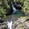 Hanawai Falls at mile marker 24 on the Road to Hana.- Upper Hanawai Falls