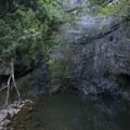 Wailua Falls slows to a trickle during the spring dry season.- Wailua Falls