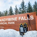 The sign at the park entrance.- Brandywine Falls Snowshoe