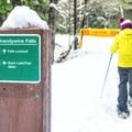 Signpost on the trail to Brandywine Falls.- Brandywine Falls Snowshoe