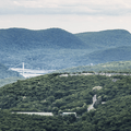The Bear Mountain Bridge beyond the river bend.- Mount Taurus / Bull Hill