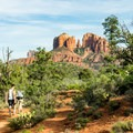 View of Cathedral Rock from the beginning of the trail.- Pyramid Mountain Loop