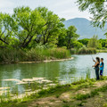 Kids fishing in the lagoon.- Dead Horse Ranch State Park