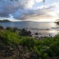 View southwest from Mākena Landing Park with Pu'u Ola'i (Red Hill), Kaho'olawe island and Molokini in the distance. - Mākena Landing Park