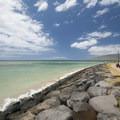 The built-up shoreline wall at Kalama Park.- Kalama Park + Cove Beach Park