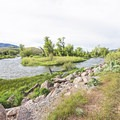The Weber River goes alongside the trail from Wanship to Coalville.- The Rail Trail