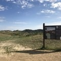 The trailhead sign with a display map.- Petrified Forest Loop Trail