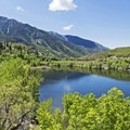 Panorama of Bells Canyon and the lower reservoir.- Bells Canyon Lower Falls