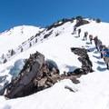 A summit group on Diamond Peak.- Diamond Peak: Pioneer Gulch/Southwest Ridge