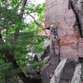 Rock climbing routes along the CCC Trail.- Devil's Lake State Park