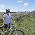 Stopping to enjoy the views of Bald Mountain at Deer Valley Ski Resort.- Round Valley Trails: Quinn's Trailhead