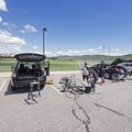 Enjoying an apres-ride beer.- Round Valley Trails: Quinn's Trailhead
