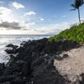 Rocky basalt shoreline on the north end of Po'olenalena Beach Park.- Po'olenalena Beach Park