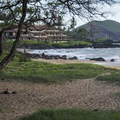View south from Po'olenalena Beach Park with Pu'u Ola'i (Red Hill) in the distance.- Po'olenalena Beach Park