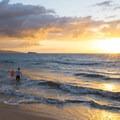 Sunset from Maluaka Beach with Molokini and Kaho'olawe Island in the distance.- Maluaka Beach