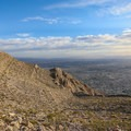 The steep terrain dropping to the eastern edge of the Las Vegas Valley.- Frenchman Mountain