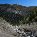 Views across Kyle Canyon to Mary Jane Falls.- Big Falls in the Spring Mountains
