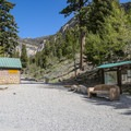 Parking area and trailhead for Mary Jane Falls.- Mary Jane Falls