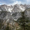 A view across Kyle Canyon at Mount Charleston Peak.- Mary Jane Falls