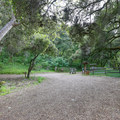 The wide oak-covered parking area in Kahn Ranch. Parking and access is by permit only.- Fern Falls via Kahn Ranch
