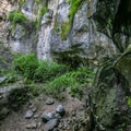The sandstone area at the bottom of the falls.- Waterfall Trail