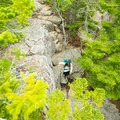 An overhead view of the rocky trail.- Gorham Mountain Trail