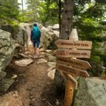 The intersection with the Cadillac Cliff Trail.- Gorham Mountain Trail