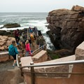Steps leading down to Thunder Hole in Acadia National Park.- Thunder Hole