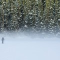 Morning fog on the first lake.- Joffre Lakes Provincial Park
