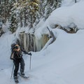 The skin track heading west from the lake leads to multiple ski routes.- Joffre Lakes Provincial Park