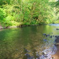 Swimming area just down river from the dock.- Alder Glen Recreation Site