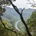 The highest point of the loop features a good view of Interstate H-3 and the surrounding valley.- 'Aiea Loop Trail