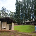 The park entrance has a large greenspace, restrooms, and picnic pavilions.- Keaīwa Heiau State Recreation Area