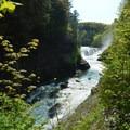 Lower Falls enters the gorge.- Letchworth West Gorge Trail