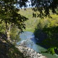 The trail edges along the gorge.- Letchworth West Gorge Trail