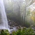 Rainbow Falls from the side.- Rainbow Falls Trail via LeConte Creek